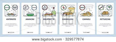 Mobile App Onboarding Screens. Intalian Food Cuisine, Pasta, Bruschetta, Cannoli, Cannelloni. Menu V