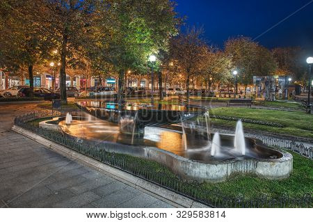 Fountain In The Center Of San Pellegrino Terme. Tourist Resort Of The Nod Italy
