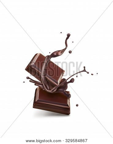 Chocolate Splash Chocolate Isolated Slices Vector Illustration