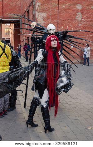 Kyiv, Ukraine - September 22, 2019. Comic Con Ukraine Festival. Cosplayers In Costumes Of Superheroe