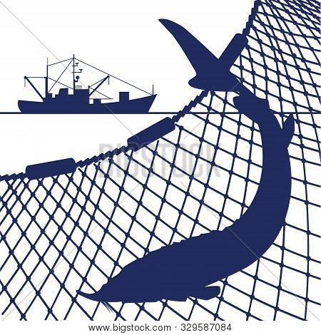 Silhouette Of Sturgeon Fish And Marine Nets, Vector