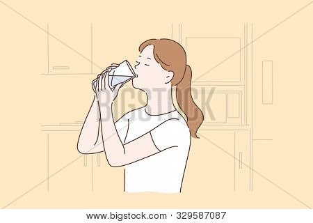 Healthy Lifestyle, Healthcare, Diet Concept. Young Woman Drinking Thirst Quenching. Thirsty Girl Hol