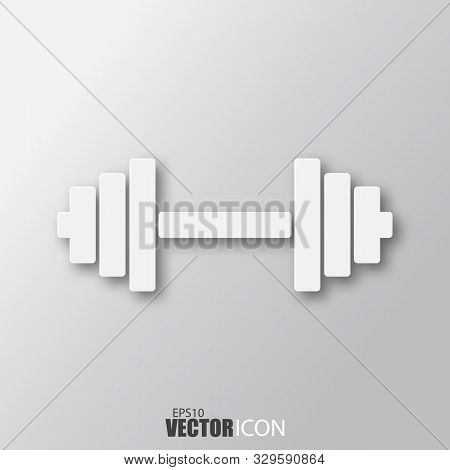 Dumbbell Icon In White Style With Shadow Isolated On Grey Background.