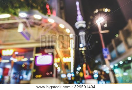 Blurred Defocused View Of Urban Nightscape At City Center In Auckland Capital Of New Zealand - Abstr