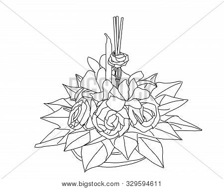 A Black And White Sketch Of A Floating Loy Kratong Launched By Water. Loy Kratong Celebration Concep