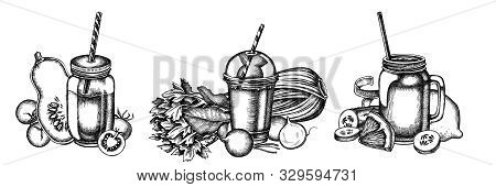 Flower Bouquet Of Black And White Lemons, Radish, Cherry Tomatoes, Pumpkin, Smoothie Cup, Smothie Ja
