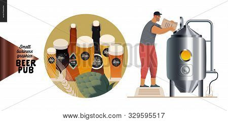 Brewery, Craft Beer Pub -small Business Graphics -brewing Process And Some Beer -modern Flat Vector