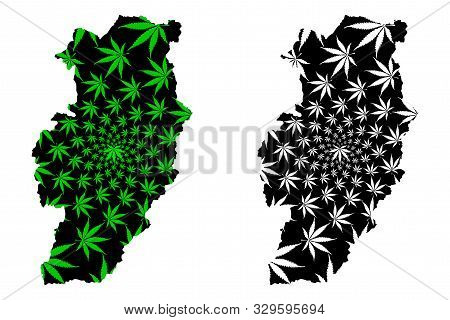 Nan Province (kingdom Of Thailand, Siam, Provinces Of Thailand) Map Is Designed Cannabis Leaf Green