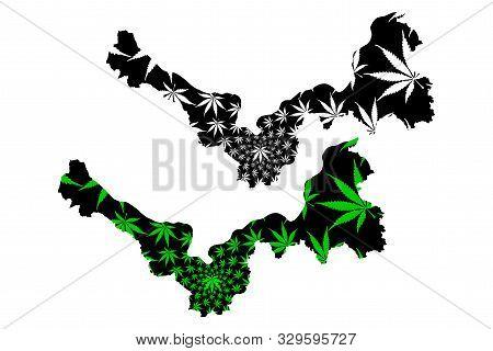 Nong Khai Province (kingdom Of Thailand, Siam, Provinces Of Thailand) Map Is Designed Cannabis Leaf