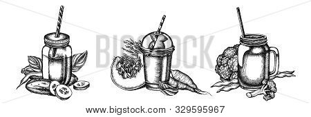 Flower Bouquet Of Black And White Broccoli, Green Beans, Carrot, Calendula, Pumpkin, Smoothie Cup, S