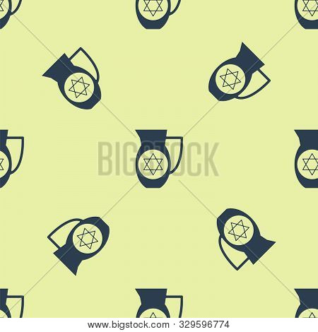 Blue Decanter With Star Of David Icon Isolated Seamless Pattern On Yellow Background. Pottery Jug. O