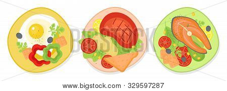 Set Of Delicious Breakfast, Ginner And Supper On The Plate. Doodle Color Illustration Of Food For Th