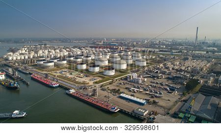 Oil Refinery Plant From Industry Zone, Aerial View Oil And Gas Industrial, Refinery Factory Oil Stor