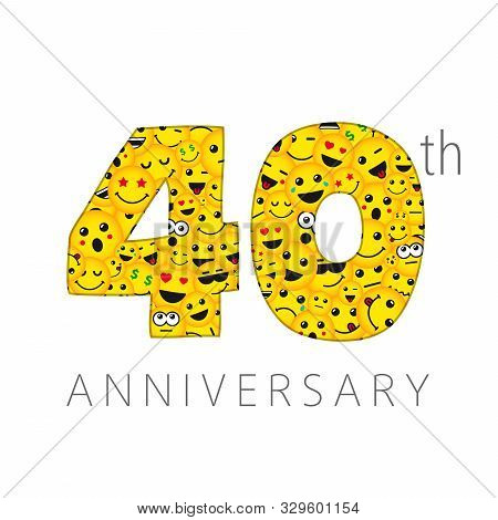 40 Th Anniversary Numbers. 40 Years Old Yellow Coloured Logotype. Age Congrats, Congratulation Idea.