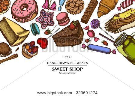 Floral Design With Colored Cinnamon, Macaron, Lollipop, Bar, Candies, Oranges, Buns And Bread, Crois