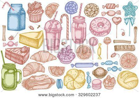 Vector Set Of Hand Drawn Pastel Cinnamon, Macaron, Lollipop, Bar, Candies, Oranges, Buns And Bread,
