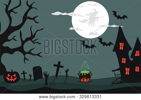 Happy Halloween.  Night, Silhouette Of A Witch On The Moon.  On A Dark Green Background, A Gloomy Ha