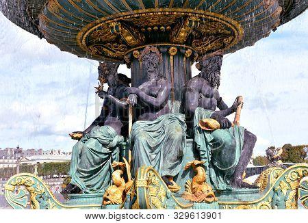 Fontaine De La Concorde Close-up At Place De La Concorde. Paris, France.