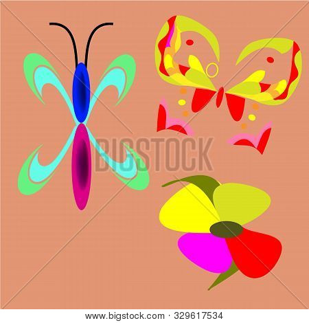 Vector Pattern With Colorful Butterflies And Flowers On A Peach Background