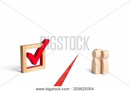 The Figures Of People And The Check Mark Vote Tick Are Separated By A Red Line. Denial Of People And