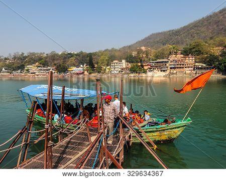 Rishikesh, India - Circa April 2018. Beautiful View Of Ganga River Embankment In Rishikesh. People C