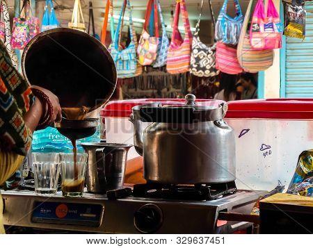 Rishikesh, India - Circa April 2018. Tea (chai) Corner On The Street Market In Rishikesh.