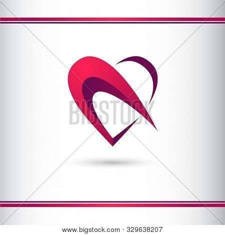 Faceted Heart Logo Creative 3d Symbol. Logo Design Template. Valentines Day Concept.