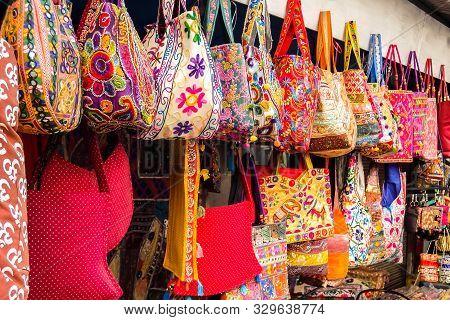 Rishikesh, India - Circa April 2018. Bags On The Flea Market In Rishikesh.
