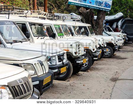 Rishikesh, India - Circa April 2018. View Of Shared Jeep Stand In Rishikesh.