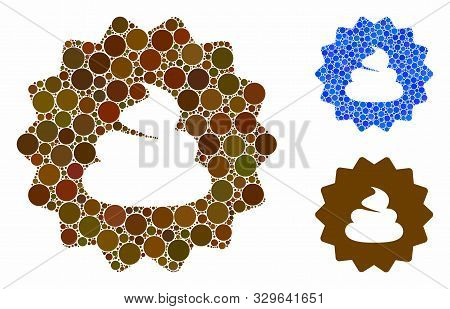 Shit Token Mosaic Of Round Dots In Different Sizes And Color Tones, Based On Shit Token Icon. Vector