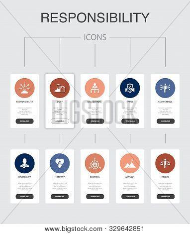 Responsibility Infographic 10 Steps Ui Design.delegation, Honesty, Reliability, Trust