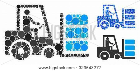 Forklift Composition Of Circle Elements In Variable Sizes And Color Tinges, Based On Forklift Icon.