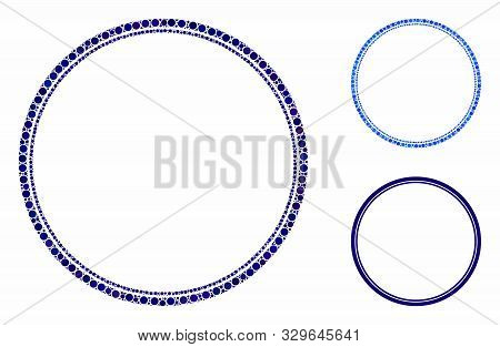 Double Circle Frame Mosaic Of Small Circles In Various Sizes And Color Tinges, Based On Double Circl