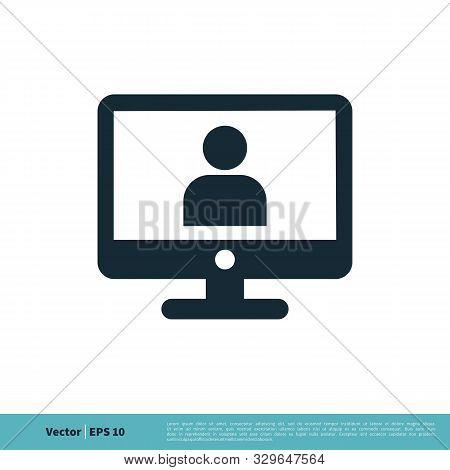 Monitor, Screen, Television Icon Vector Logo Template Illustration Design. Vector Eps 10.