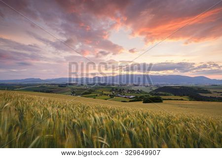 Rural Landscape Of Turiec Region At The Foothills Of Velka Fatra Mountain Range, Slovakia.