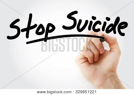 Hand Writing Stop Suicide With Marker, Concept Background