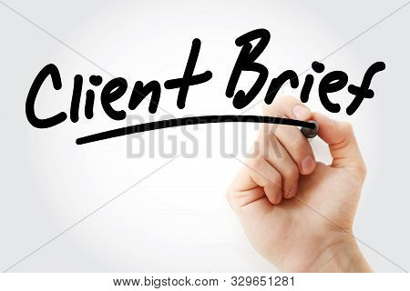 Hand Writing Client Brief With Marker, Concept Background