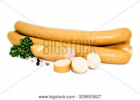 Four Wieners And One Sliced isolated On White Background
