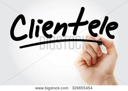 Hand Writing Clientele With Marker, Concept Background
