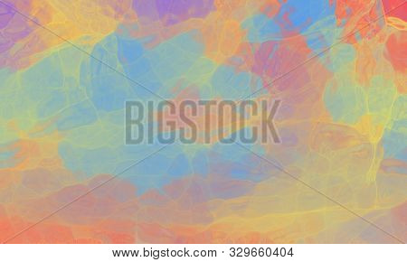 Colorful Background In Pretty Soft Colors Of Blue Pink Purple Yellow And Orange, Abstract Sunset In