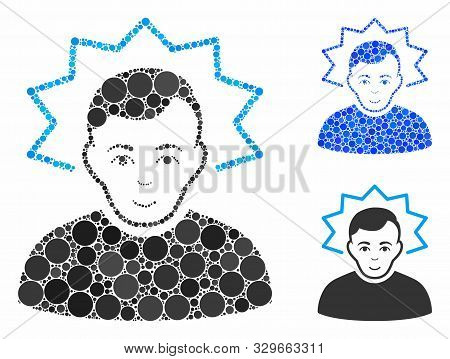 Inventor Mosaic Of Round Dots In Variable Sizes And Color Hues, Based On Inventor Icon. Vector Round