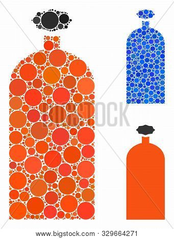 Gas Cylinder Mosaic Of Round Dots In Various Sizes And Shades, Based On Gas Cylinder Icon. Vector Ro