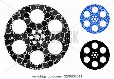 Reel Composition Of Round Dots In Variable Sizes And Color Hues, Based On Reel Icon. Vector Round Do
