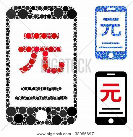 Renminbi Yuan Mobile Payment Mosaic Of Filled Circles In Variable Sizes And Color Tinges, Based On R