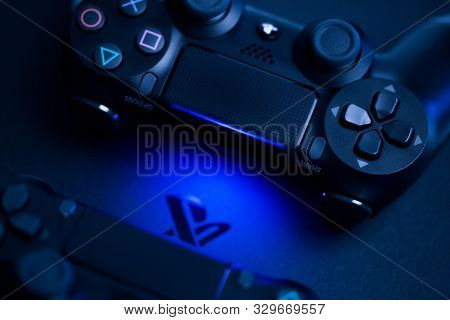 Russia, Oktober 24 2019: Ps4 Console Background. Playstation 4 Controllers. Sony Gaming Console - Im