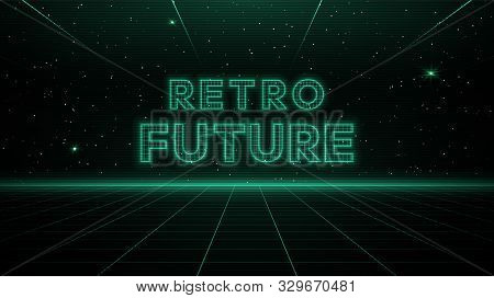 Retrofuturisitic Sci-fi Green Laser Perspective Grid Background In Starry Space. Retrowave Cyber Las