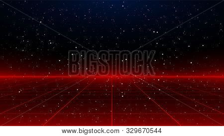 Newretrowave Sci-fi Red Laser Perspective Grid Background In Starry Space. Retrofuturistic Cyber Las