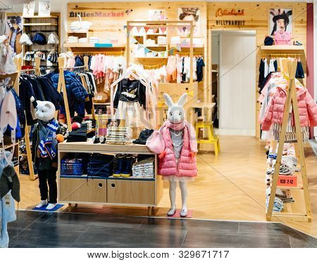 Barcelona, Spain - Nov 17, 2017: Two Rabbit And Cat Mannequins Silhouettes Wearing Luxury Jackets In