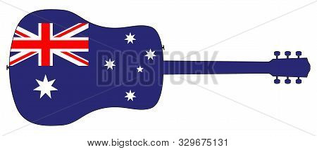 A Typical Acoustic Guitar Silhouette Isolated Over A White Background With A Australia Flag