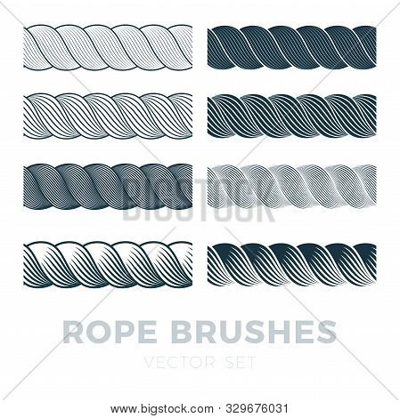 Rope Brushes Frame, Decorative Black Line Set With Text. Thick Cord Or Wire Elements. Vector Flat St